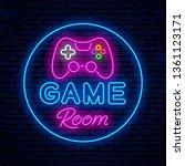 game room. neon sign design.... | Shutterstock .eps vector #1361123171