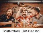 cheerful friends men fans watch ... | Shutterstock . vector #1361164154