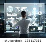 businessman presses interface ... | Shutterstock . vector #136117391
