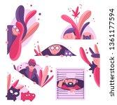 people and animals peeking of... | Shutterstock .eps vector #1361177594