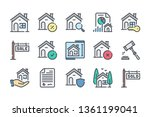 real estate color line icon set....