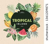 tropical hawaiian party... | Shutterstock .eps vector #1361209871