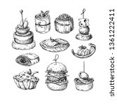 finger food drawings. food... | Shutterstock . vector #1361222411