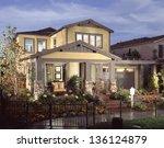 beautiful new home exterior of...   Shutterstock . vector #136124879