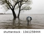 flooded bike rack and large...   Shutterstock . vector #1361258444