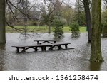flooded picnic tables...   Shutterstock . vector #1361258474