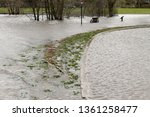 flooded park bench and road on...   Shutterstock . vector #1361258477