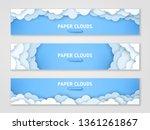 clouds papercut banner... | Shutterstock .eps vector #1361261867