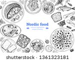 scandinavian cuisine top view... | Shutterstock .eps vector #1361323181
