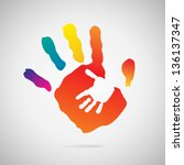 hand print icon | Shutterstock .eps vector #136137347