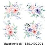 watercolor flower set  ... | Shutterstock . vector #1361402201