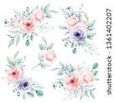 watercolor flower set  ... | Shutterstock . vector #1361402207
