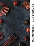 mediterranean food on black... | Shutterstock . vector #1361405261