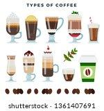 different coffee drinks.... | Shutterstock .eps vector #1361407691
