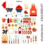 all for grill  big set of... | Shutterstock .eps vector #1361408147