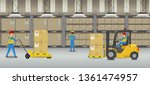 warehouse interior with workers ...   Shutterstock .eps vector #1361474957