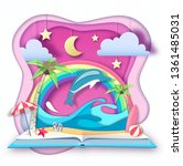 open fairy tale book with... | Shutterstock .eps vector #1361485031