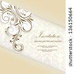 vintage damask invitation card | Shutterstock .eps vector #136150664