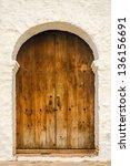 wooden door on the side of a... | Shutterstock . vector #136156691