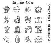 summer icon set in thin line... | Shutterstock .eps vector #1361568107