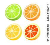 set of citrus. lemon  lime ... | Shutterstock .eps vector #1361590244