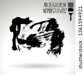 black brush stroke and...   Shutterstock .eps vector #1361594921