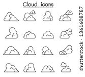 cloud icon set in thin line... | Shutterstock .eps vector #1361608787