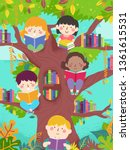 illustration of kids reading... | Shutterstock .eps vector #1361615531