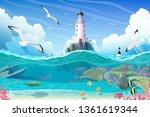 vector cartoon lighthouse sea... | Shutterstock .eps vector #1361619344