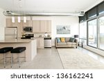 kitchen and living room of loft ... | Shutterstock . vector #136162241