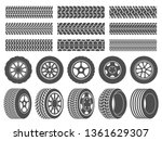 wheel tires. car tire tread... | Shutterstock .eps vector #1361629307