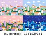 minimal style town. geometric... | Shutterstock .eps vector #1361629361