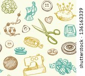 sewing and needlework doodles... | Shutterstock .eps vector #136163339