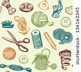 sewing and needlework doodles... | Shutterstock .eps vector #136163345