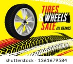 vector tire sale out banner... | Shutterstock .eps vector #1361679584