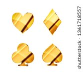 set of glossy golden card suits ... | Shutterstock .eps vector #1361718557