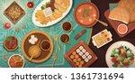 ramadan celebration with iftar... | Shutterstock .eps vector #1361731694
