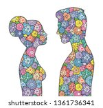 male and female silhouettes... | Shutterstock .eps vector #1361736341