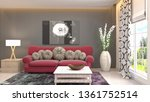 interior of the living room. 3d ... | Shutterstock . vector #1361752514