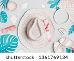 summer woman accessories with ... | Shutterstock . vector #1361769134
