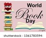 world book day. smart owl on... | Shutterstock .eps vector #1361783594