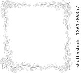 floral frame. coloring book for ... | Shutterstock .eps vector #1361786357