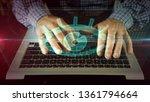 hands typing on laptop keyboard ...   Shutterstock . vector #1361794664