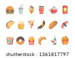 fast food flat icons. sandwich... | Shutterstock .eps vector #1361817797
