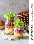 pasta and vegetable salad in a... | Shutterstock . vector #1361826791