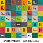 shoes and footwear icons set  ... | Shutterstock .eps vector #1361828861