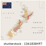 new zealand political map retro ... | Shutterstock .eps vector #1361838497