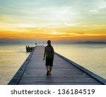 Boat Pier At Sunset. Beautiful...