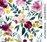 watercolor floral pattern ... | Shutterstock . vector #1361850011