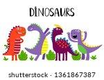 cartoon emotional dinosaurs... | Shutterstock .eps vector #1361867387